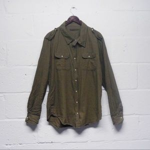 SALE Nicholas K Green Rocco Zipper Button Shirt